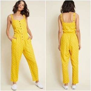 Modcloth Every Waking Momentum Linen Jumpsuit